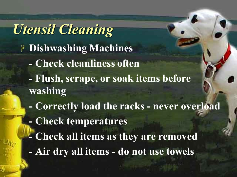 Utensil Cleaning H Dishwashing Machines - Check cleanliness often - Flush, scrape, or soak items before washing - Correctly load the racks - never ove