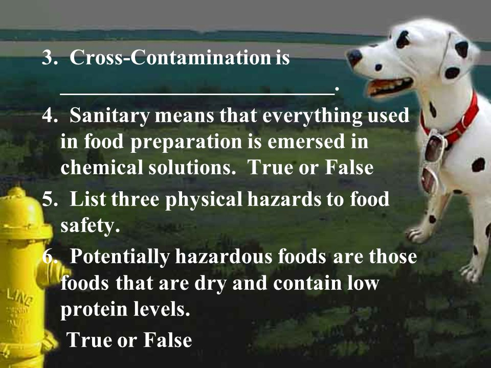 3. Cross-Contamination is _________________________. 4. Sanitary means that everything used in food preparation is emersed in chemical solutions. True