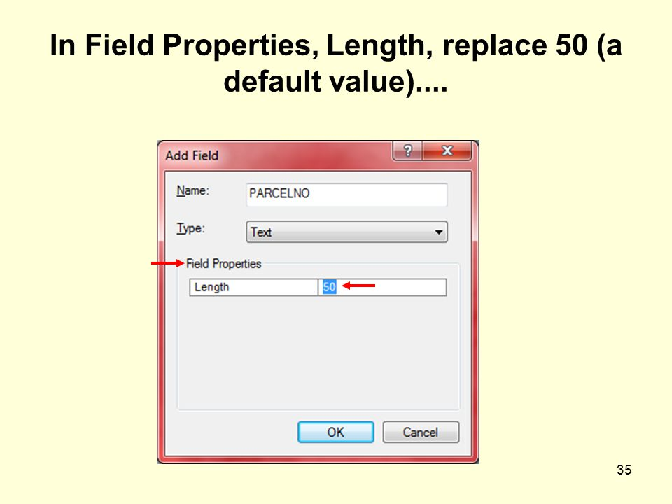 35 In Field Properties, Length, replace 50 (a default value)....