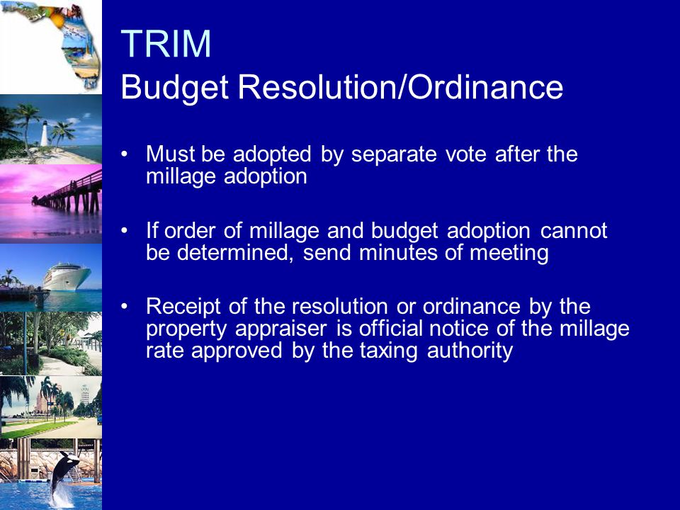 TRIM Budget Resolution/Ordinance Must be adopted by separate vote after the millage adoption If order of millage and budget adoption cannot be determi