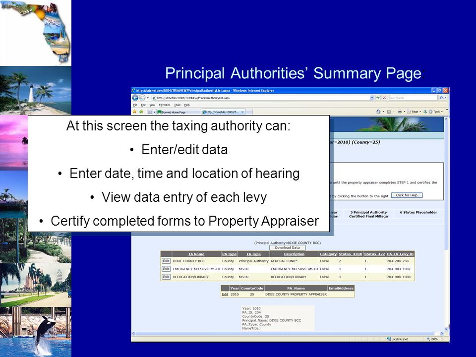 At this screen the taxing authority can: Enter/edit data Enter date, time and location of hearing View data entry of each levy Certify completed forms to Property Appraiser At this screen the taxing authority can: Enter/edit data Enter date, time and location of hearing View data entry of each levy Certify completed forms to Property Appraiser Principal Authorities' Summary Page: