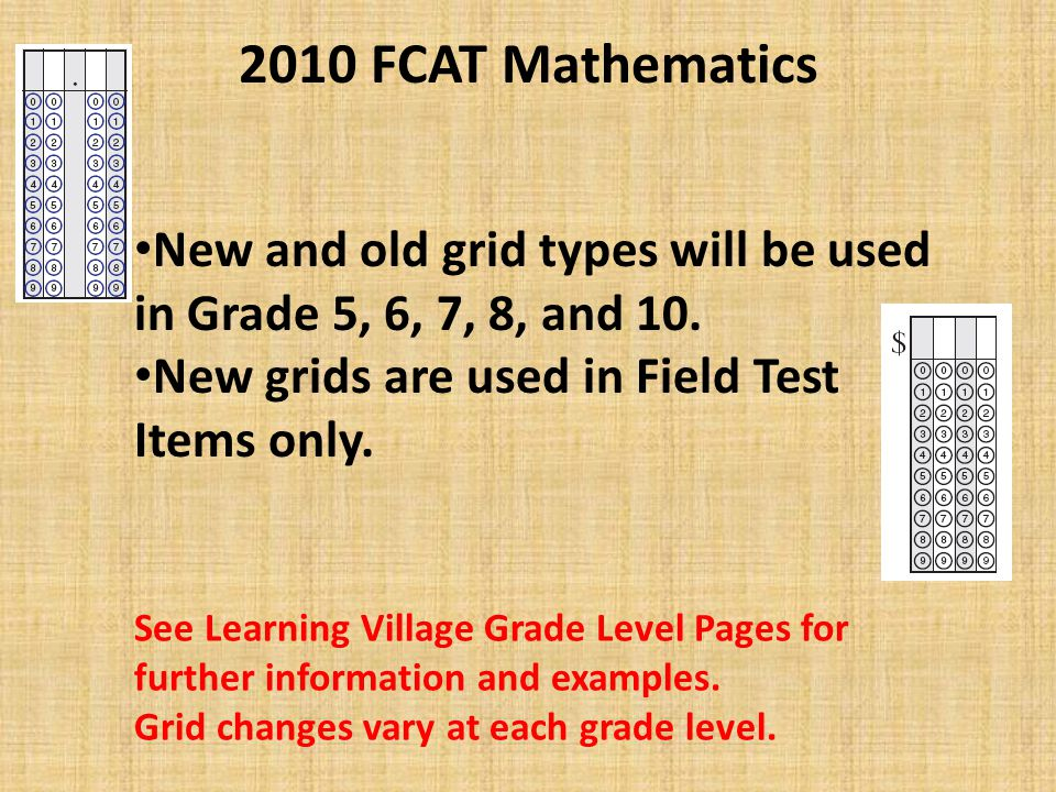 2010 FCAT Mathematics New reference sheets in Grades 5, 6-8 & 10 (See samples in newly released Sample Tests and on Learning Village) Old reference sheet will be used for Grade 9 and Retakes.
