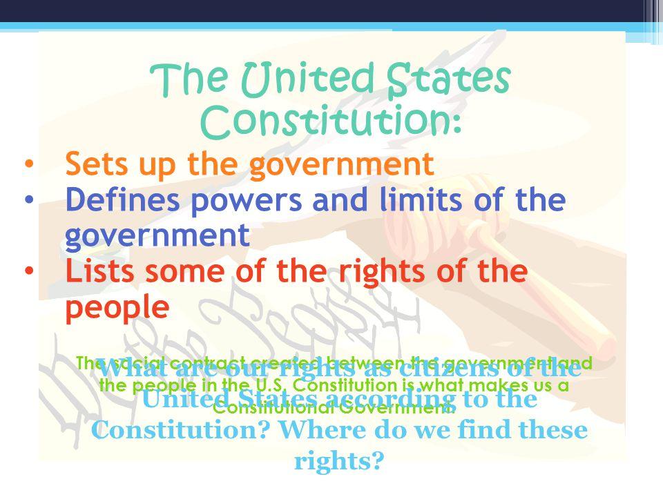 Parts of the US Constitution PREAMBLE SEVEN ARTICLES AMENDMENTS (27)