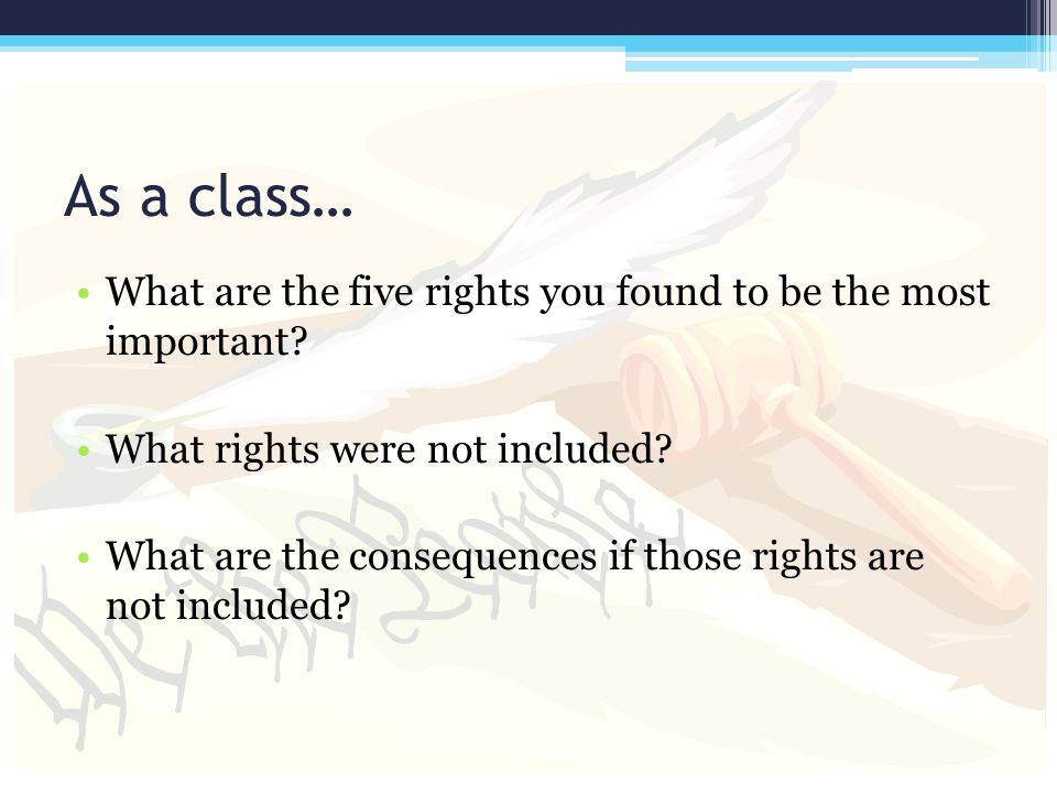 As a class… What are the five rights you found to be the most important? What rights were not included? What are the consequences if those rights are
