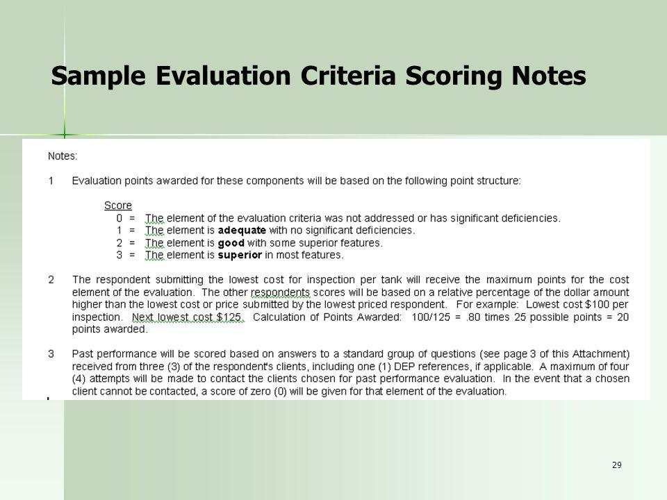 29 Sample Evaluation Criteria Scoring Notes