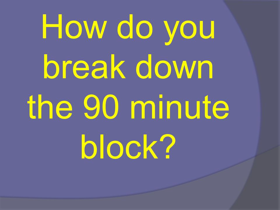 90 minute break-down  20-30 minutes whole group instruction (Teacher Lead)  45-60 minutes on small groups/centers (students are in small groups or individually working on an activity relating to the whole group lesson)  20 minutes on lowest 25% quartile (this group meets daily)