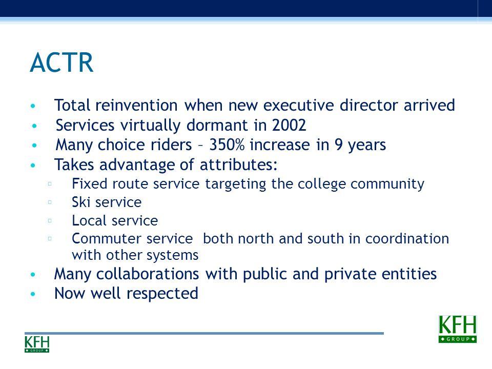 Some Examples Addison County Transit Resources, VT Ark-Tex TRAX, TX JAUNT, VA Treasure Valley Transit, ID