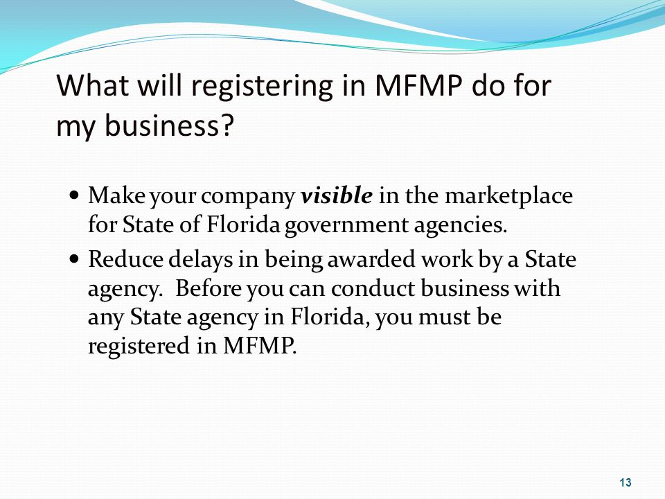 What will registering in MFMP do for my business.