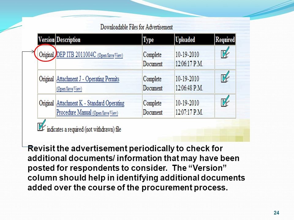 Revisit the advertisement periodically to check for additional documents/ information that may have been posted for respondents to consider.