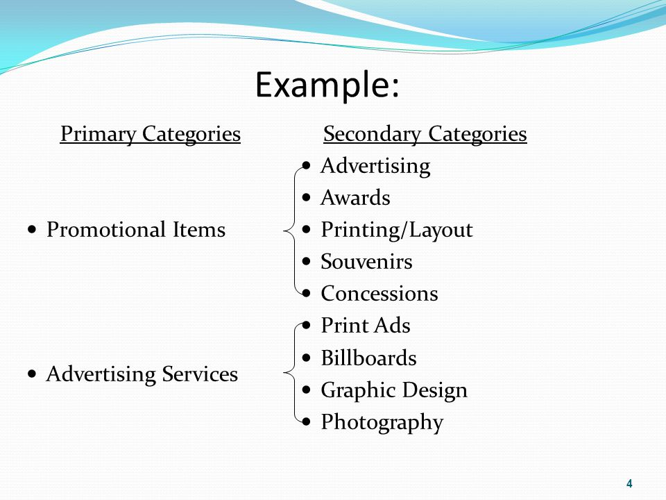Example: Primary Categories Promotional Items Advertising Services Secondary Categories Advertising Awards Printing/Layout Souvenirs Concessions Print Ads Billboards Graphic Design Photography 4