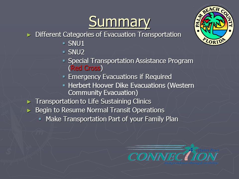 Summary ► Different Categories of Evacuation Transportation  SNU1  SNU2  Special Transportation Assistance Program (Red Cross)  Emergency Evacuati