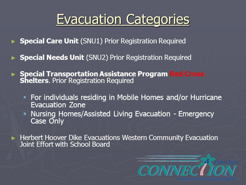 Evacuation Categories ► ► Special Care Unit (SNU1) Prior Registration Required ► ► Special Needs Unit (SNU2) Prior Registration Required ► ► Special T