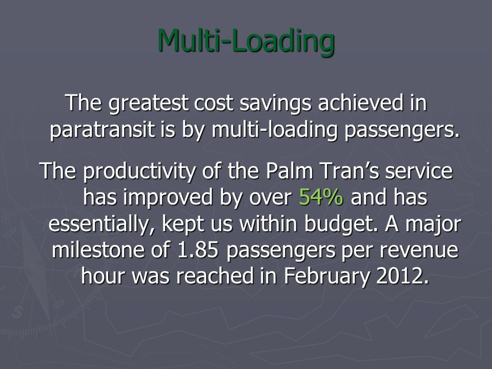 Multi-Loading The greatest cost savings achieved in paratransit is by multi-loading passengers.