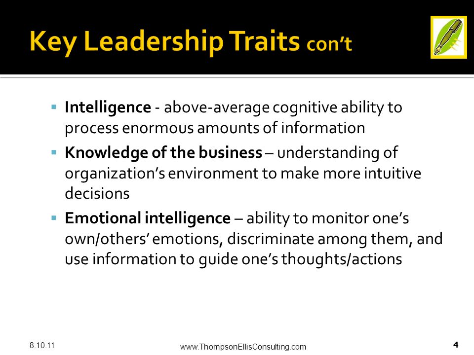  Intelligence - above-average cognitive ability to process enormous amounts of information  Knowledge of the business – understanding of organization's environment to make more intuitive decisions  Emotional intelligence – ability to monitor one's own/others' emotions, discriminate among them, and use information to guide one's thoughts/actions 8.10.11 www.ThompsonEllisConsulting.com 4