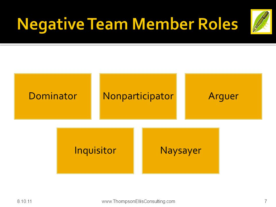 Team Member Facilitator Trouble- shooter Investigator Smoother EncouragerChallenger