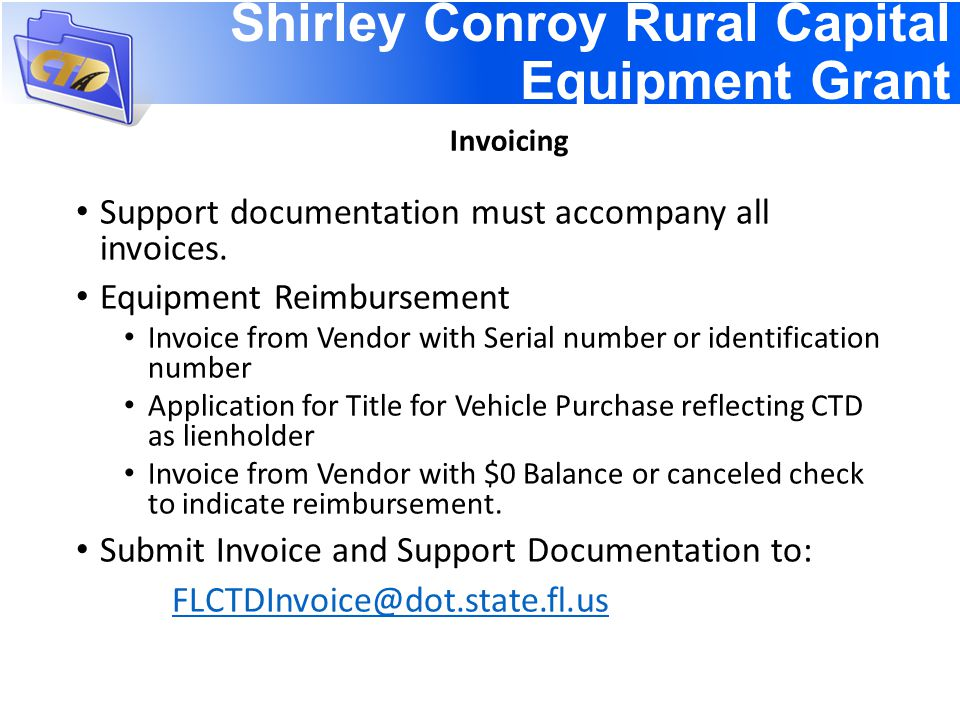 Support documentation must accompany all invoices.