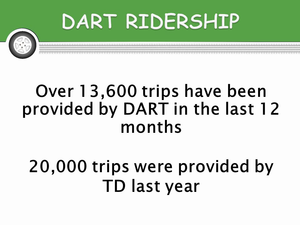 Over 13,600 trips have been provided by DART in the last 12 months 20,000 trips were provided by TD last year