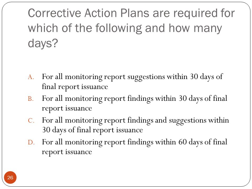 Corrective Action Plans are required for which of the following and how many days.