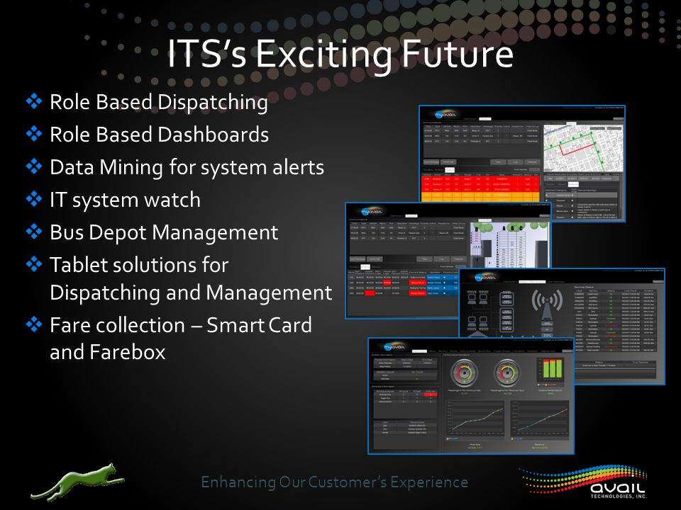  Role Based Dispatching  Role Based Dashboards  Data Mining for system alerts  IT system watch  Bus Depot Management  Tablet solutions for Dispatching and Management  Fare collection – Smart Card and Farebox ITS's Exciting Future Enhancing Our Customer's Experience