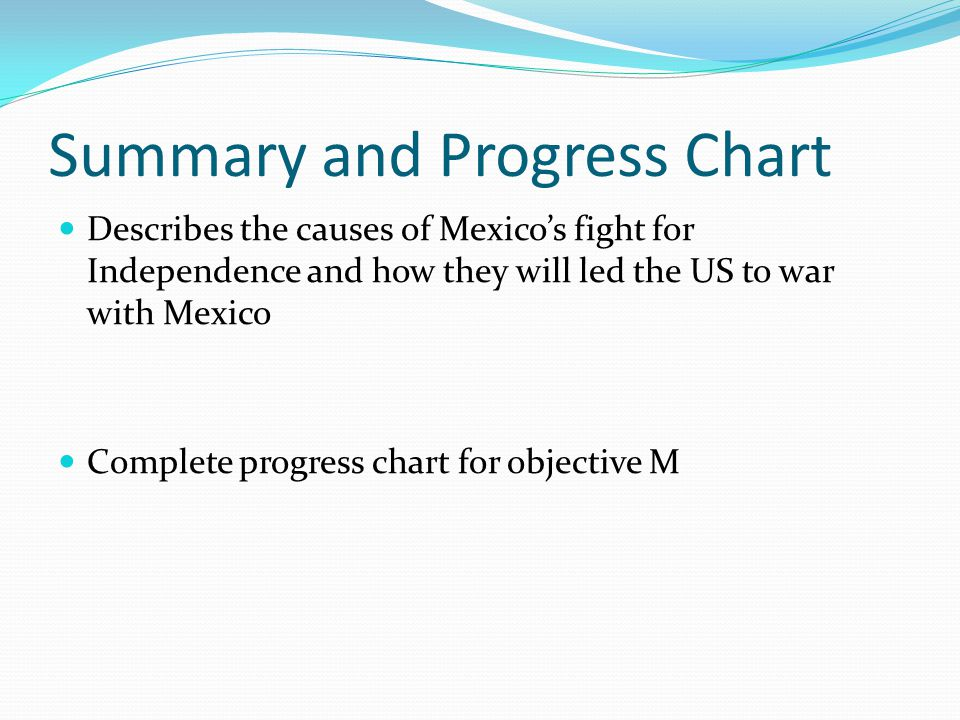 Summary and Progress Chart Describes the causes of Mexico's fight for Independence and how they will led the US to war with Mexico Complete progress chart for objective M