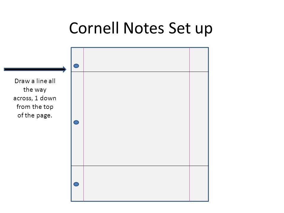 Cornell Notes Set up Draw a line all the way across, 2 down from the top of the page.