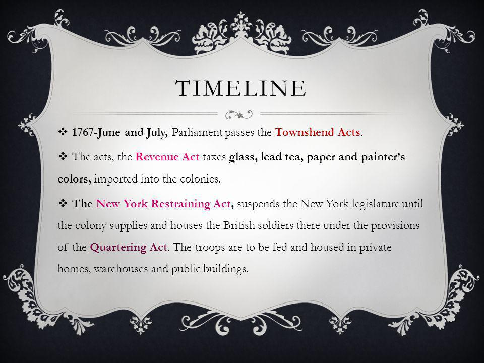 TIMELINE  1767-June and July, Parliament passes the Townshend Acts.