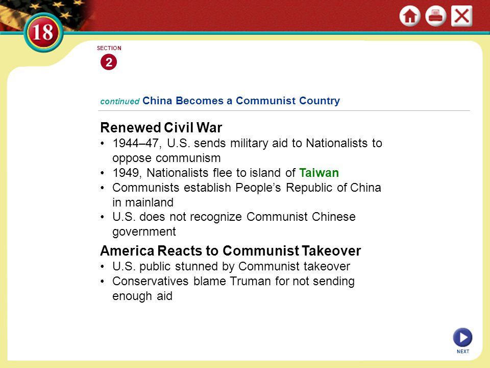 continued China Becomes a Communist Country Renewed Civil War 1944–47, U.S. sends military aid to Nationalists to oppose communism 1949, Nationalists