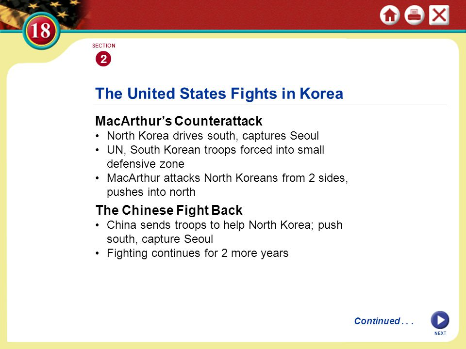 The United States Fights in Korea MacArthur's Counterattack North Korea drives south, captures Seoul UN, South Korean troops forced into small defensi