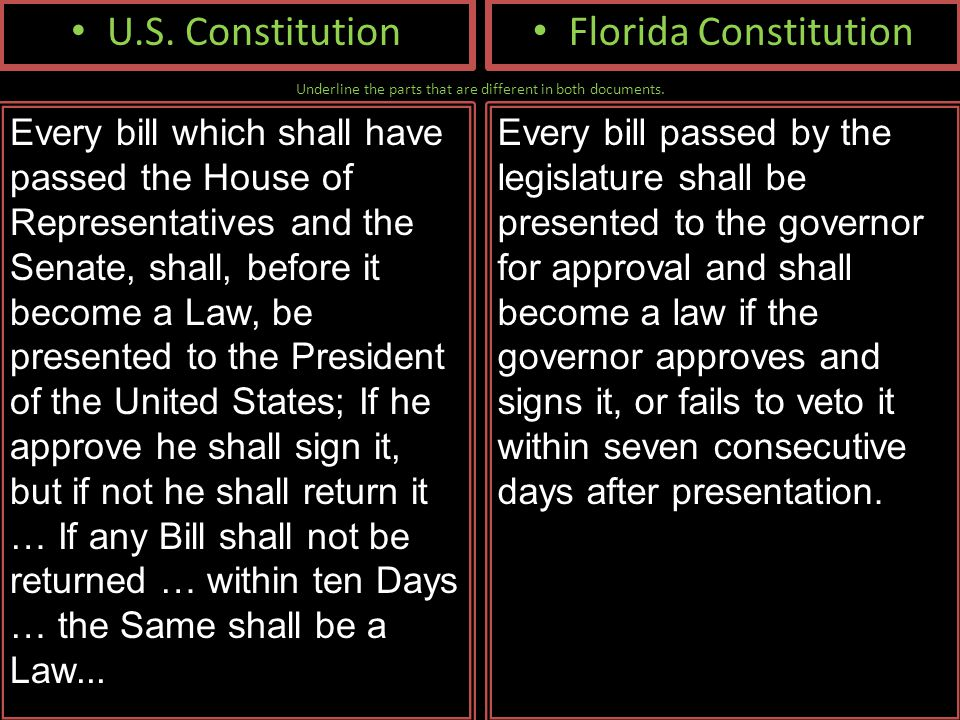Underline the parts that are different in both documents. U.S. Constitution Every bill which shall have passed the House of Representatives and the Se