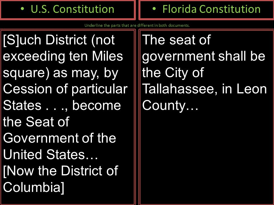 Underline the parts that are different in both documents. U.S. Constitution [S]uch District (not exceeding ten Miles square) as may, by Cession of par