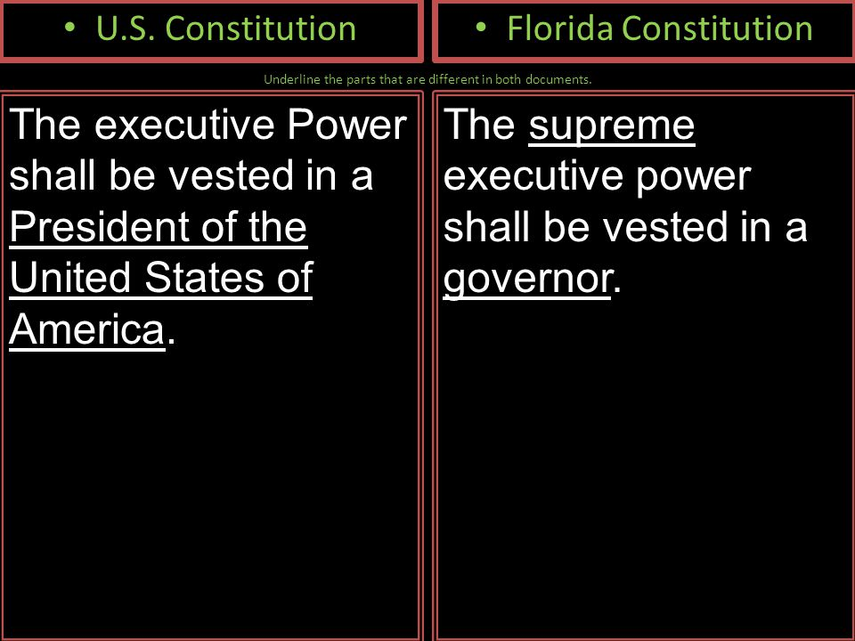 Underline the parts that are different in both documents. U.S. Constitution The executive Power shall be vested in a President of the United States of