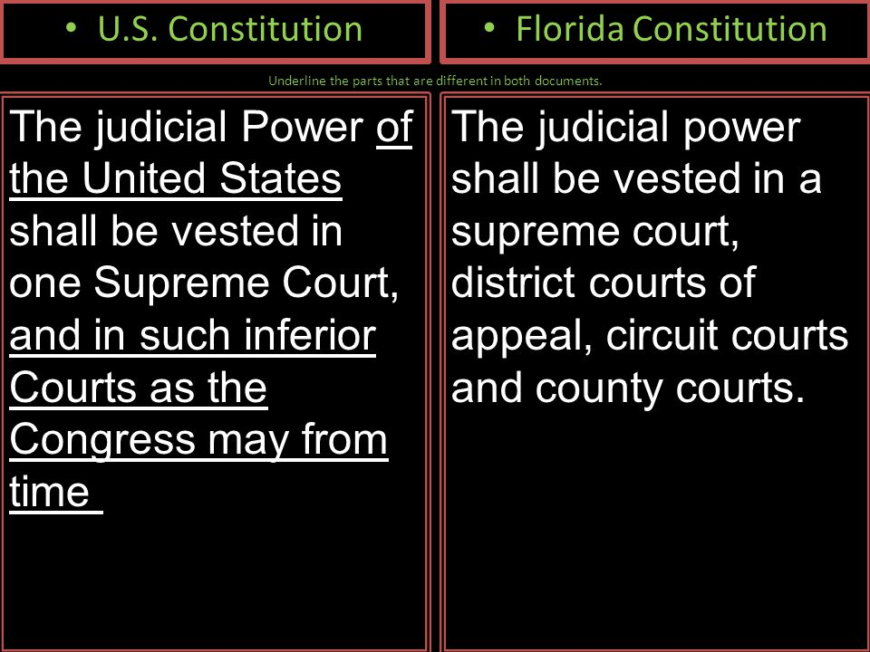Underline the parts that are different in both documents. U.S. Constitution The judicial Power of the United States shall be vested in one Supreme Cou