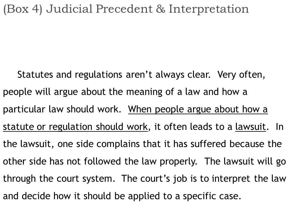 (Box 4) Judicial Precedent & Interpretation Statutes and regulations aren't always clear.