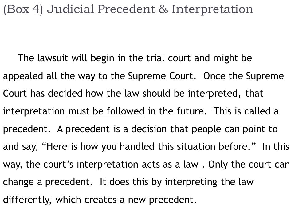 (Box 4) Judicial Precedent & Interpretation The lawsuit will begin in the trial court and might be appealed all the way to the Supreme Court.