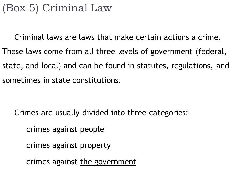 (Box 5) Criminal Law Criminal laws are laws that make certain actions a crime.