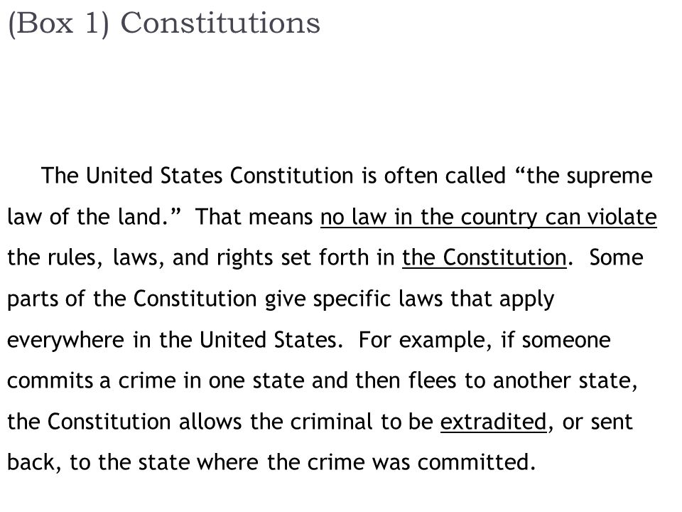 (Box 1) Constitutions The United States Constitution is often called the supreme law of the land. That means no law in the country can violate the rules, laws, and rights set forth in the Constitution.