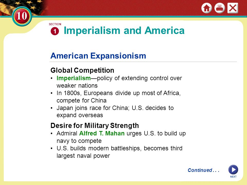 American Expansionism Global Competition Imperialism—policy of extending control over weaker nations In 1800s, Europeans divide up most of Africa, com