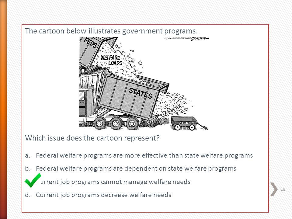 The cartoon below illustrates government programs. Which issue does the cartoon represent? a.Federal welfare programs are more effective than state we