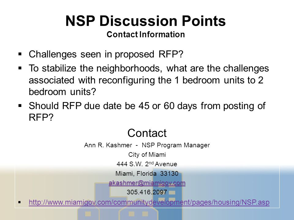 NSP Discussion Points Contact Information  Challenges seen in proposed RFP.