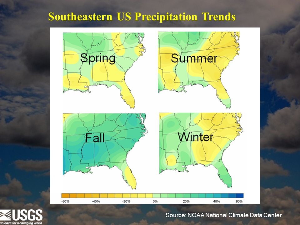 Source: NOAA National Climate Data Center Southeastern US Precipitation Trends