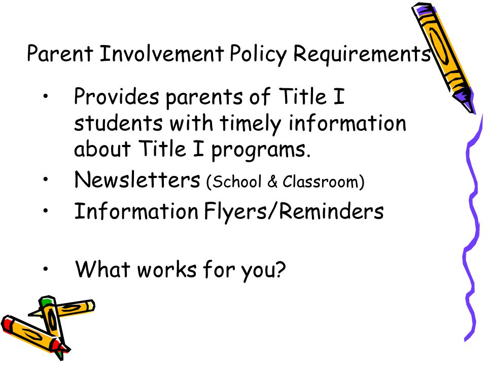 DRAFT Provides parents of Title I students with timely information about Title I programs.