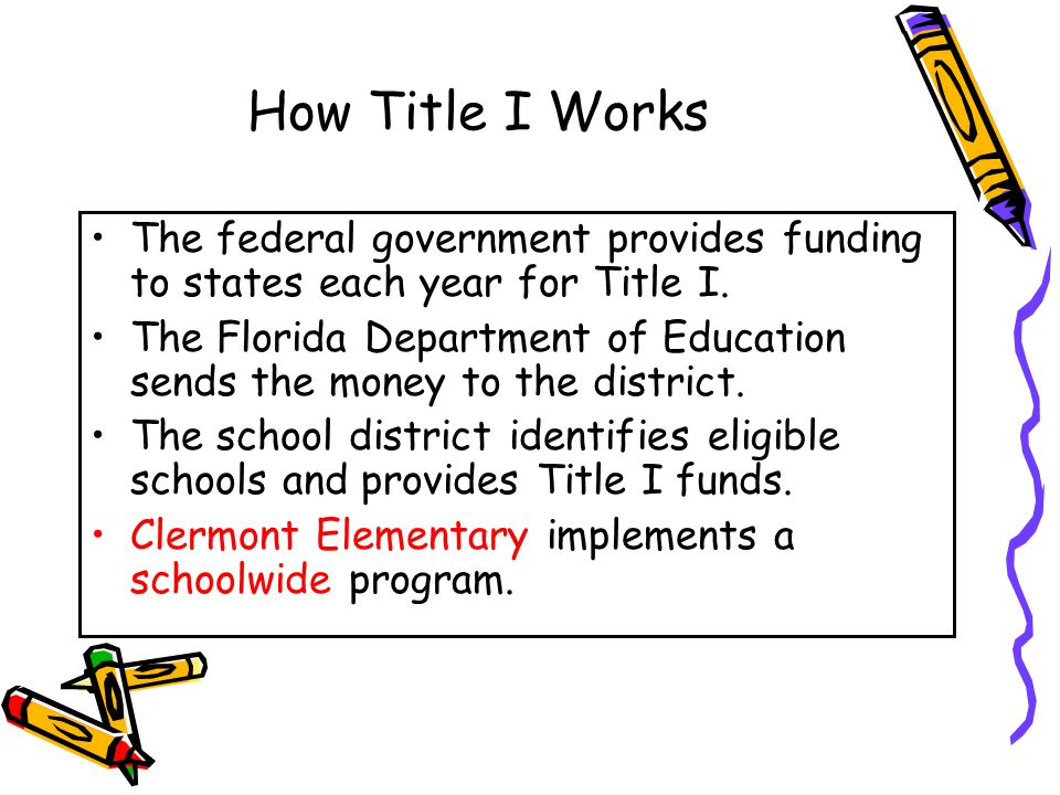 DRAFT How Title I Works The federal government provides funding to states each year for Title I.