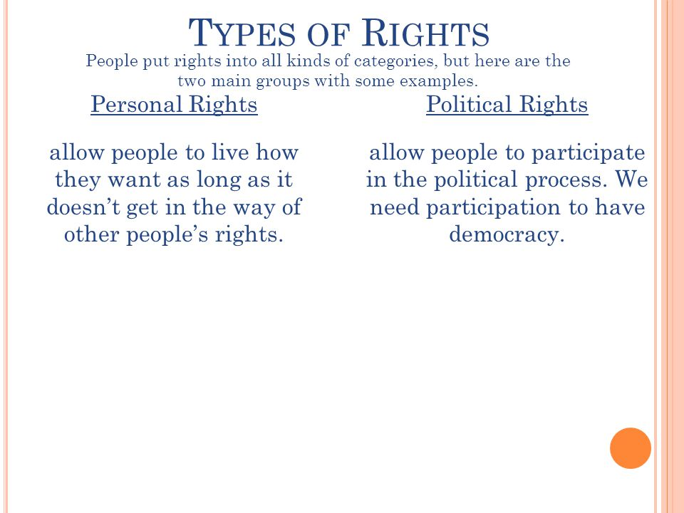 T YPES OF R IGHTS Personal Rights allow people to live how they want as long as it doesn't get in the way of other people's rights.