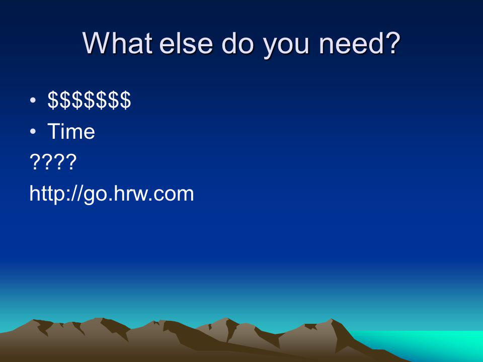 What else do you need? $$$$$$$ Time ???? http://go.hrw.com