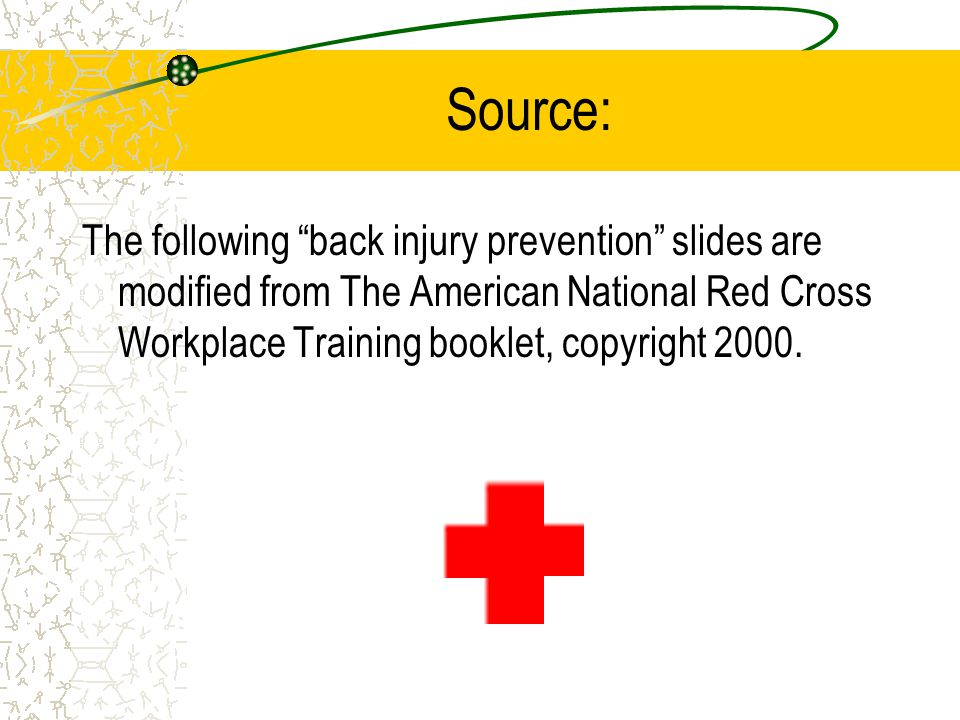 Source: The following back injury prevention slides are modified from The American National Red Cross Workplace Training booklet, copyright 2000.