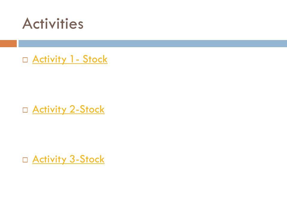 Activities  Activity 1- Stock Activity 1- Stock  Activity 2-Stock Activity 2-Stock  Activity 3-Stock Activity 3-Stock