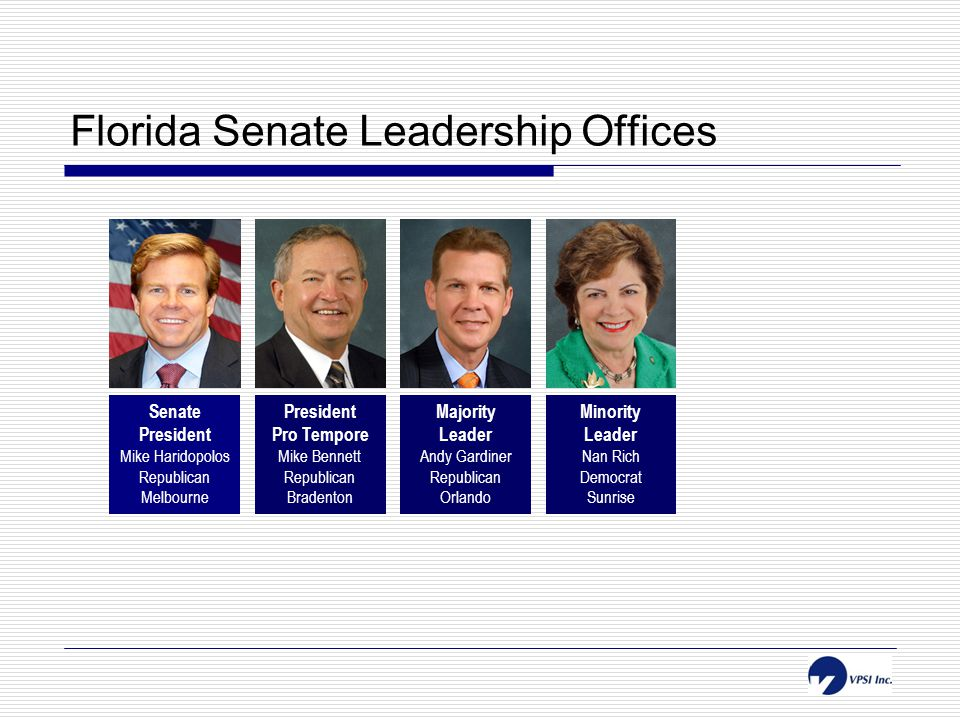 Florida Senate Leadership Offices Senate President Mike Haridopolos Republican Melbourne President Pro Tempore Mike Bennett Republican Bradenton Majority Leader Andy Gardiner Republican Orlando Minority Leader Nan Rich Democrat Sunrise