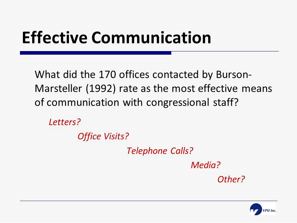 Effective Communication What did the 170 offices contacted by Burson- Marsteller (1992) rate as the most effective means of communication with congressional staff.
