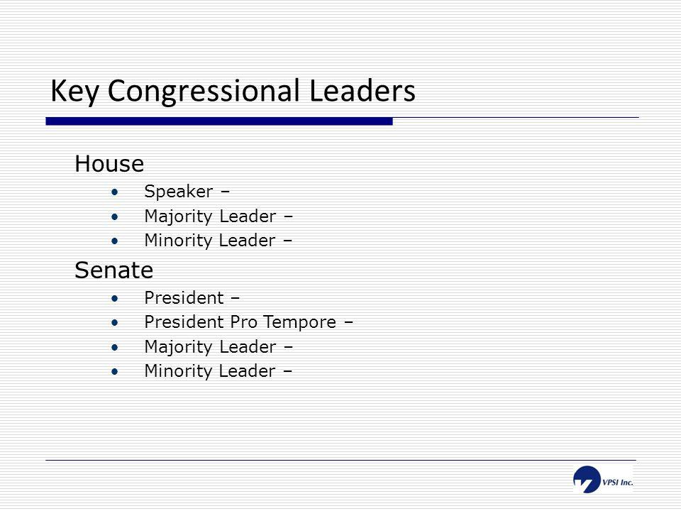 Key Congressional Leaders House Speaker – John Boehner (R-OH) Majority Leader – Eric Cantor (D-VA) Minority Leader – Nancy Pelosi (D-CA) Senate President – Joe Biden (US Vice President) President Pro Tempore – Daniel Inouye (D-HI) Majority Leader – Harry Reid (D-NV) Minority Leader – Mitch McConnell (R-KY)