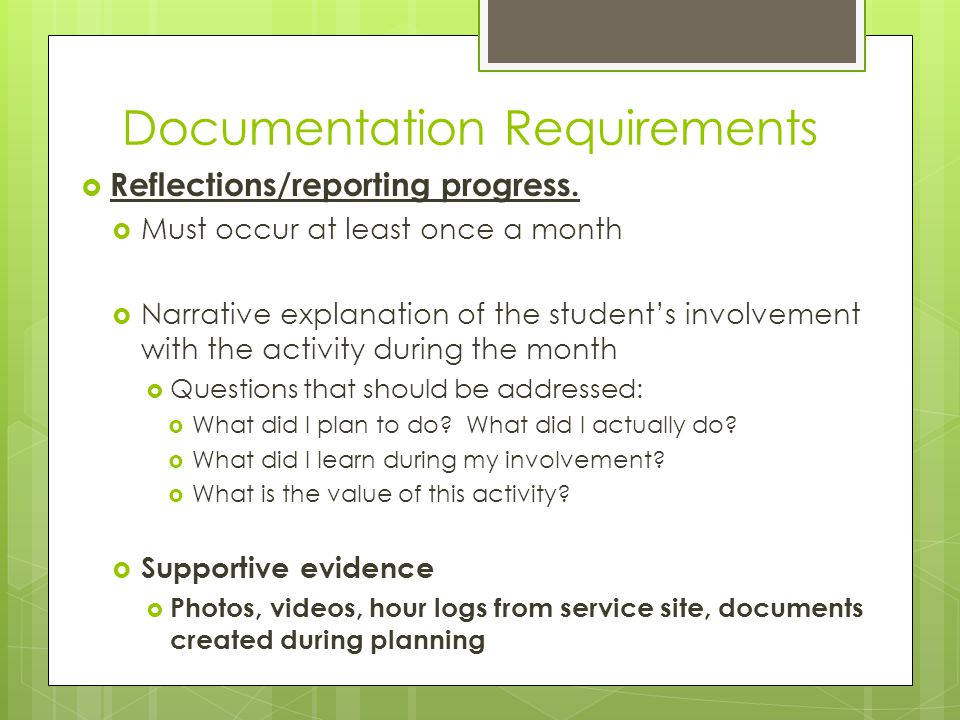 Documentation Requirements  Reflections/reporting progress.